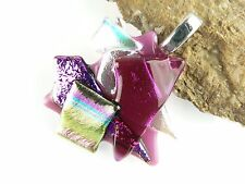 With cord in gift box genuine dichroic glass pendant - pink options