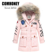 Kids Jacket Winter Coat Duck Down Girls Boys Warm Cotton Outdoor Faux Fur Collar