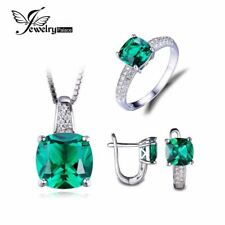 8.7ct Emerald Ring Pendant Clip Earrings Jewelry Set 925 Sterling Silver
