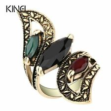 Vintage Big Ring Antique Gold Color Mosaic Colorful Resin Rings For Women Size 6