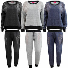 New Ladies Full Tracksuit Sweatshirt Top & Sequin Melange Bottom Women Jogger