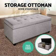 Blanket Box Storage Ottoman PU Leather Fabric Chest Toy Clothes Foot Stool Bed I