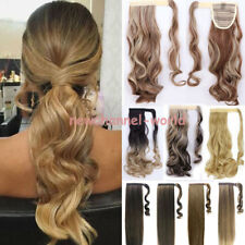 US Mega Thick Clip In Ponytail Hair Extension Straight Curly Real Wrap Pony Tail