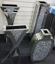 Mirror thick inlaid crystals/diamonds & mirror tile decorative vases.