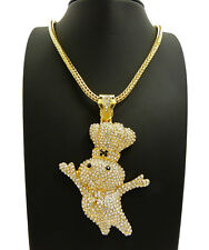 "NEW ICED OUT BLING ""DOUGH BOY"" PENDANT & 4mm 36"" FRANCO CHAIN HIP HOP NECKLACE"