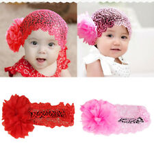 Girls Flower Lace Wide Headband Elastic Band Hairband DIY Accessory 6-24 Month