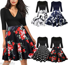 Floral Style Housewife Vintage 1950's 60's Swing Polka Jive Pinup Dress 2018 New
