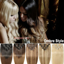 US 100% Real Natural Clip in Hair Extension 8PCS 18Clips Full Head As Human Hair