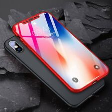 For iPhone X Case 360° Shcokproof Thin Slim Hard Protecter Cover + Temper Glass