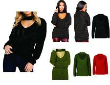 Ladies Womens Choker Neck Knitted jumper long sleeve Lurex Glitter Sweater 8-16