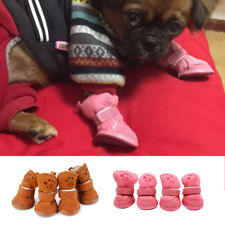 4Pcs Winter Small Dog Boots Anti-Slip Puppy Shoes Pet Protective Snow Booties