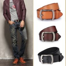 High Quality Genuine Cowhide Leather Belt Men Cool Metal Pin Buckle Size 31-46
