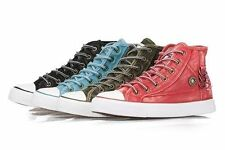 Womens Ladies Ankle High Flat Lace up Canvas Pumps Trainers Casual Shoes (W2003)