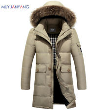 Men Down Jacket Fur Collar Hooded Coat Outwear Parka Winter Warm Lightweight