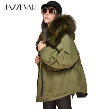 Women Fur Padded Jacket Down Winter Hooded Coat Parka Long Quilted Cotton Collar