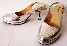 Ladies High Heel SILVER SHOES by DONNA VELENTA various Sizes 38 39