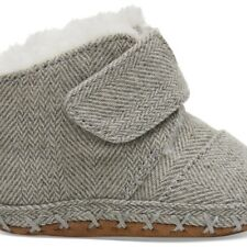 NEW TOMS DRIZZLE GREY HERRINGBONE TINY TOMS CUNAS SHOES