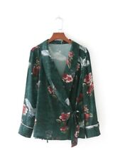 Womens Green Floral Crane Print V Neck Floral Kimono Tie Up Blouse Shirt Tops