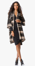 $445 NWT VINCE SWEATER TEXTURE STRIPE S/S LONG CARDIGAN - BLACK/RATTAN