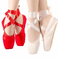 Pink Gilrs Ballet Dance Toe shoes Professional Ladies Satin Pointe Shoes Silk EW
