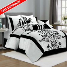Chezmoi Collection 7-Piece White and Black Floral Comforter Set Bed In A Bag!