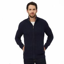 Maine New England Mens Navy Ribbed Zip-Through Cardigan From Debenhams