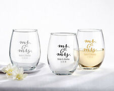 100 Personalized Stemless Wine Glasses Mr. Mrs. Script Wedding Party Favors Lot