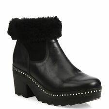 NEW RAG & BONE WOMENS NELSON LEATHER & SHEARLING CLOG BOOTIES