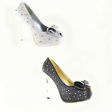 WOMEN'S LADIES EVENING PEEP TOE PLATFORM STUDDED HIGH HEEL COURT SHOES SIZE 3-8