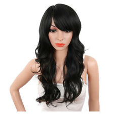 Sexy Long Body Wavy Wig with Side Bangs Black Mix Brown Synthetic Wig for Women