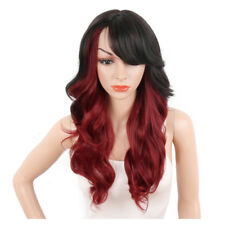 Sexy Long Body Wavy Wigs with Side Bangs Ombre Red Synthetic Wigs for Women