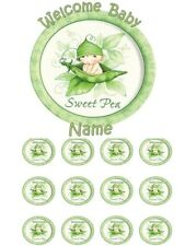 EDIBLE SWEET PEA BABY SHOWER CAKE TOPPER OR CUPCAKES ICING SUGAR FROSTING SHEET