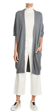 $385 NWT VINCE 100% CASHMERE SHORT SLEEVE LONG CARDIGAN SWEATER HEATHER GRAY