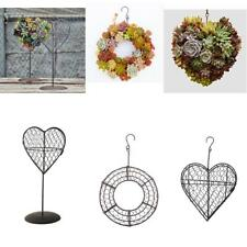 Iron Heart/Circle Frame Stand Succulent Pot Hanging Planter Plant Holder 3 Types