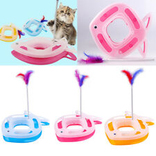 2-in-1 Fish Shape Cat Kitty Funny Activity Disk Feather Teaser Interactive Toy