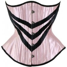 Pink Striped Underbust Corset Waist Training Lace Up Cincher Shaper Tightlacing
