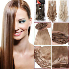 Extra Thick Clip In Human Hair Extensions Full Head 8 Pieces Long Wavy Synthetic