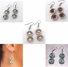 NEW Silver Plated Casting Metal Earrings Glass Bead Handmade Drop Dangle Hook