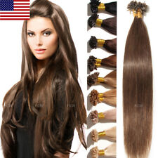 US 7A Pre Bonded U Nail Tip Remy Human Hair Extensions Fusion Keratin 100S 200S