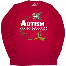Inktastic Autism Awareness Butterfly Ribbon Long Sleeve T-Shirt Support Puzzle