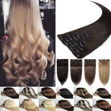 US Full Head Long 8 Pieces Clip In Hair Extensions Real Thick As Human Hairpiece