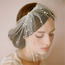 Pearl Wedding Bridal Ivory Tulle Ellie's Bridal Birdcage Prom Veil Face Cover