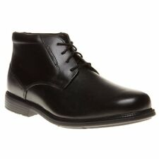New Mens Rockport Black Charles Road Pt Chukka Leather Boots Lace Up