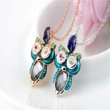 Natural Crystal Cute Owl Pendant Necklace with Shiny Rhinestone Jewelry
