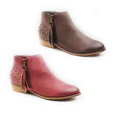 WOMENS LADIES TASSEL STUDDED CHELSEA STYLE BLOCK HEEL ANKLE BOOTS SHOES SIZE 3-8