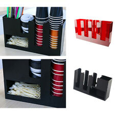 Paper Cup Lid Holder Dispenser Coffee Drink Stand Cafe Home Buffet 2 Types