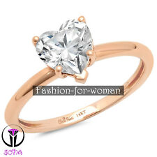 1.30Ct Heart VS1 DIAMOND 14K ROSE GOLD Promise Ring Solitaire Engagement STEPHAN