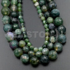"""Faceted Natural Moss Agate Gemstone Round Beads 15.5"""" 4mm 6mm 8mm 10mm 12mm"""