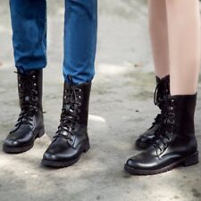 MEN  WOMENS COMBAT ARMY MILITARY WORKER LACE UP FLAT BIKER ZIP ANKLE BOOTS