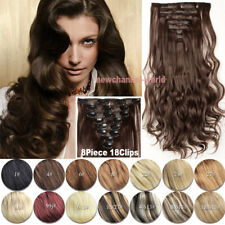 """8Pcs 24"""" Clip In Full Head 100% Real as Human Straight Curly Hair Extensions New"""